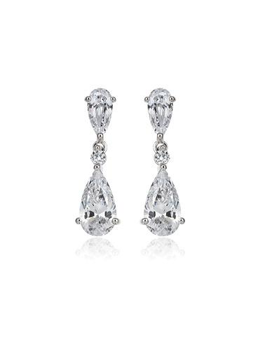 4,2Ct Pırlanta Efekt Alıcıa Damla Altın Küpe-Tophills Diamond Co.
